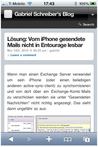 Ein Blogartikel dieses Blogs aufgerufen mit einem iPhone